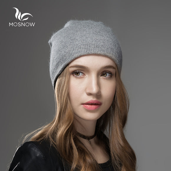 Mosnow Winter Hats For Women 2017 New Solid Wool Asymmetrical Knitted Vogue Brand Casual Warm Hat Female Skullies Beanies Bonnet