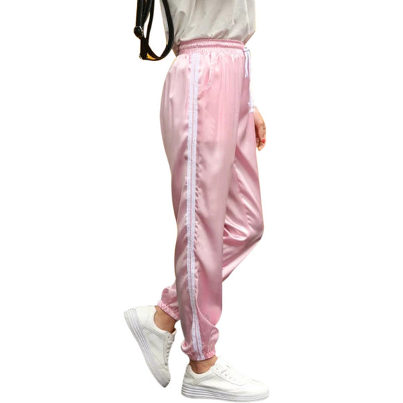 10 Color Sweatpants Women Elastic High Waist Pants 2017 Sportswear Casual Baggy Pink Striped Ladies Trousers Pantalon Femme