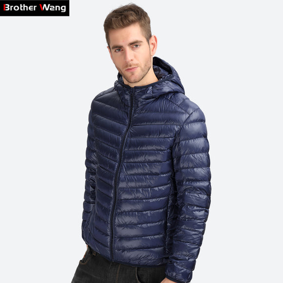 Brother Wang Brand 2017 Winter New light down men Fashion Casual Men's Down Jacket Warm Hooded White duck down Coat Male