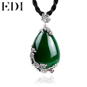 EDI Brand Vintage 925 Sterling Silver Red Royal Bohemian Garnet Natural Semi-Precious Stones Pendant Necklace Female