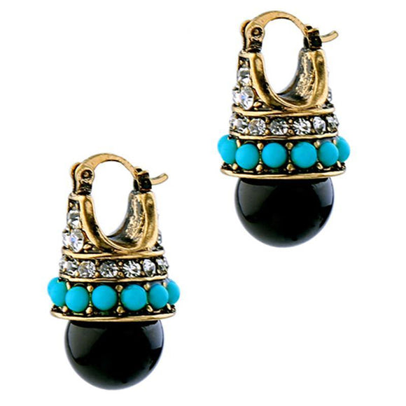 ATHENA 2018 Vintage Round Black Palace Crystal Jewelry Stud Earrings