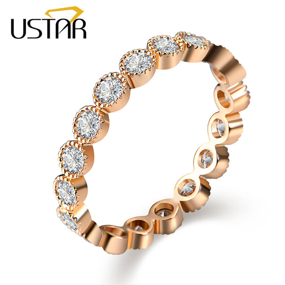 USTAR Crystals Engagement Rings for women with AAA Cubic Zirconia Rose Gold color finger wedding ring female Anel Jewelry bijoux