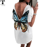 Butterfly Casual V neck mini women t shirt dress bohe chiffon dress women's summer casual dresses 2017women summer beach dress