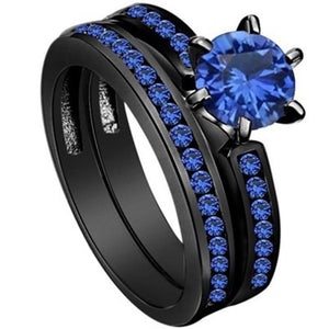 Vecalon Dropshipping Female Blue Birthstone ring AAA Zircon Cz Black gold filled Party wedding Band ring Bridal Sets for women
