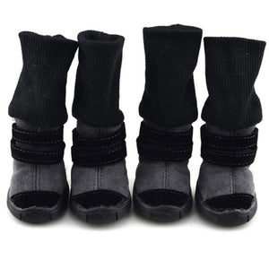 PETPETROL 2018 Pet Shoes Anti-slip Cotton Soft Leather Cashmere Warm Booties Boots Belt Dog Winter Footwear