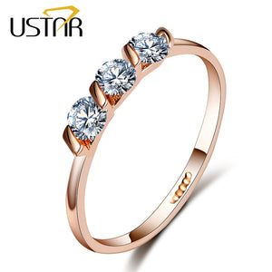 USTAR Crystals engagement rings for women with AAA Cubic Zirconia Rose Gold color Wedding ring female Anel fashion Jewelry gifts