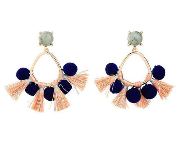 ATHENA 2018 Bohemia Blue Cotton Ball Tassel PomPom Stud Earrings For Women