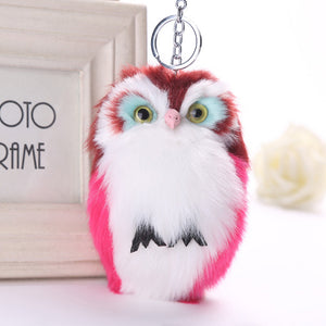 15CM Cute Owl Keychain Pendant Women Key Ring Holder Pompoms Key Chains A