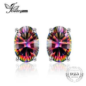 2016 New Wholesale 1.5ct Women Fashion Genuine Natural Fire Rainbow Mystic Topaz Earrings Stud Oval Solid 925 Sterling Silver
