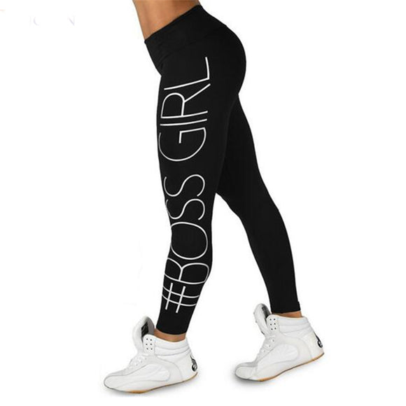 Women Print Boss Girl Printing leggings 2017 Fashion Slim High Waist Fitness Leggings Casual leggings Girl  legginsy fitness