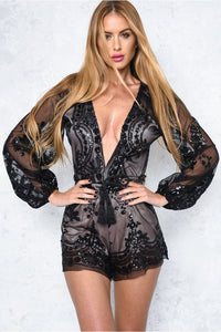Autumn Sexy Women V Neck Sequins Jumpsuit Mesh Long Sleeve Clubwear Green Black Gold Party Rompers 2017 Brands Playsuit Overalls