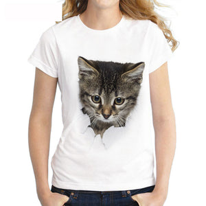 2017 Summer Naughty Cat 3D Lovely T Shirt Women Printing Originality O-Neck Short Sleeve T-shirt Tops Tee