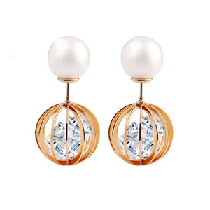 1Pair Women Pearl Rhinestone Round Ball Earrings Ear Stud Jewelry