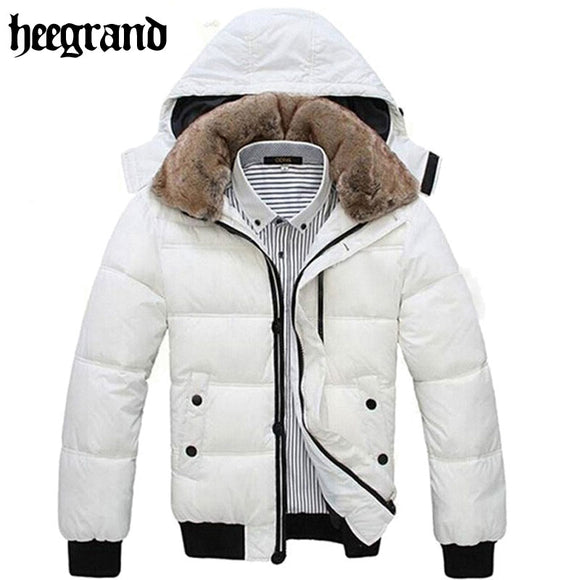 HEE GRAND Thick Warm Men Winter Coat 2017 Hot Fashion Jacket Men Parka Leisure Wear High Quality Plus Size Black White MWM001