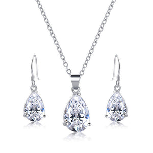 2017 Silver Color Jewelry Set Fashion Cubic Zircon Pendant Statement Necklace Dangle Earrings for Women CZ Wedding Jewelry Set