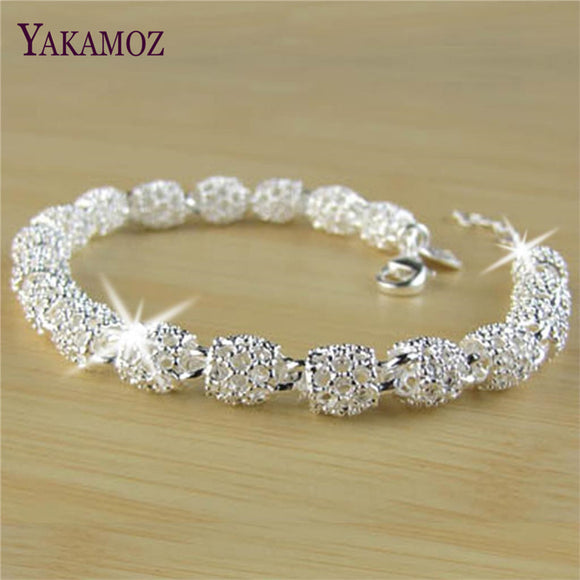 New Fashion Trendy Hollow Out Beads Link Chain Bracelet Silver Plated Beads Trendy Style Charms Bracelet Fine Jewelry For Women