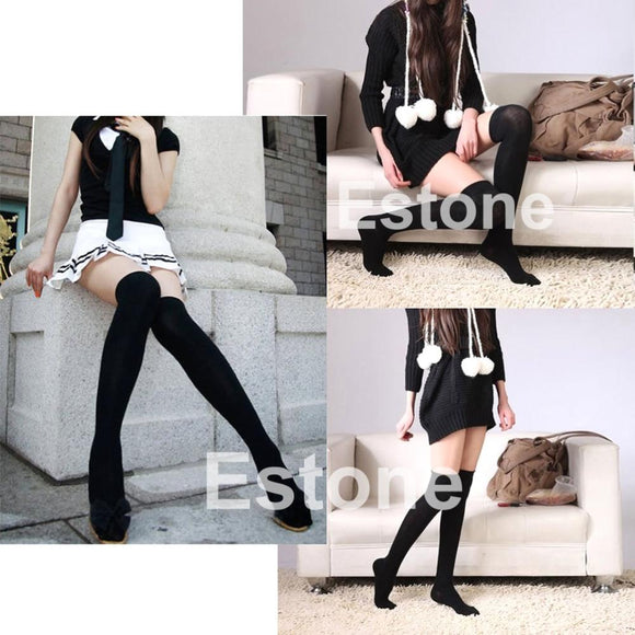 Fashion Lady Girls Over The Knee Thigh High Cotton Leggings Free Shipping