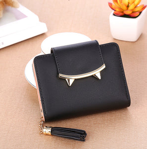 2017 Korean Cute Cat Ears Leather Short Tassel Women Wallet Small Day Clutch Trifold Female Purse ID Coin Card Holder Mini Bag