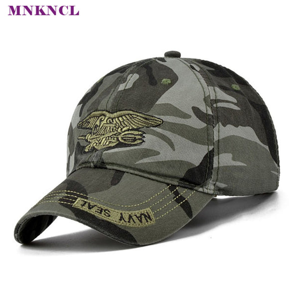 2017 New Fashion Summer Men's Navy Seal Adjustable Camouflage Cotton Canvas Baseball Cap Sun Hat Outdoors Casual Snapback Caps