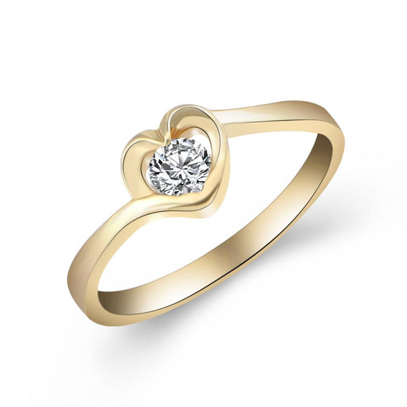 Cheap Fashion Jewery Gold Color with Heart Shaped Inlay Cubic Zirconia Ring for Women Wedding Size 5-10