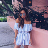 Summer 2017 Women Strapless Playsuit Striped Rompers Ruffles Sleeve Jumpsuit Backless Sexy Overall Casual Beach Short Pants