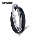 2017 New Cross Ceramic Rings Black White Double Women Rings For Women Unique Design Fashion Stainless Steel Silver Ring For Gift