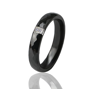 27 - 3mm Black White Ceramic Ring / India Stone Crystal Comfort Rings