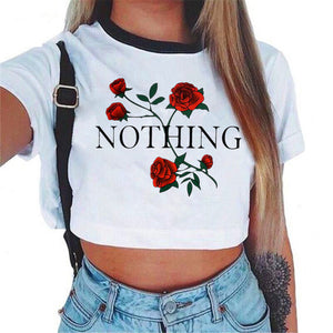 Women's Nothing Letter Rose Crop Top Short Sleeve T Shirts Women Brand New Casual Tees Summer Female T Shirt Cute Cropped Top