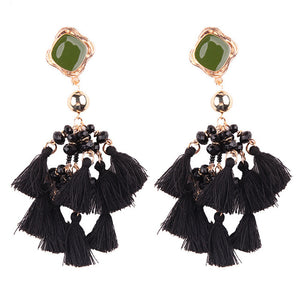 Best lady 2017 New Hot Brand Dangle Tassel Earrings for Women Fashion Fringed Black Fringed Wedding Drop Earrings Wholesale