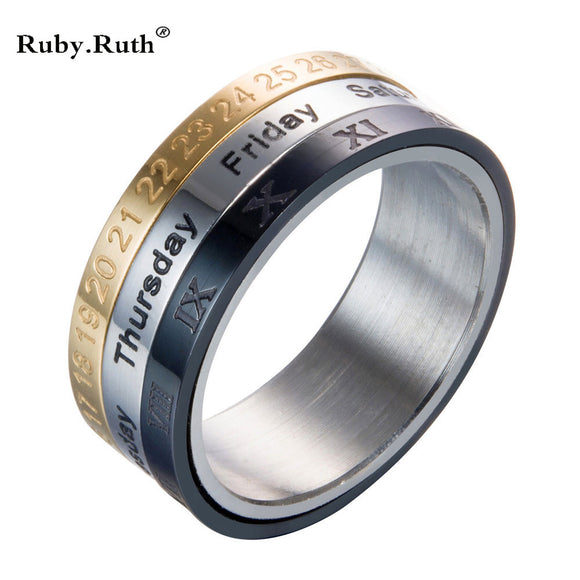 Titanium Steel Tricolor Calendar Time Wedding Ring Men's Fashion Jewelry Band Gift Time to turn the wholesale ring
