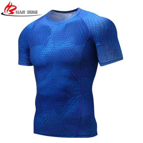 Mens Fitness 3D Prints Short Sleeves Bodybuilding Skin Tight Thermal Compression Crossfit Workout Top Gear