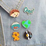 1Pc  Cute  Hedgehog/Dog/Record/Goldfish/Oops Design Metal Brooches Pins Hats Clips Enamel DIY Lovely Cartoon  Gift