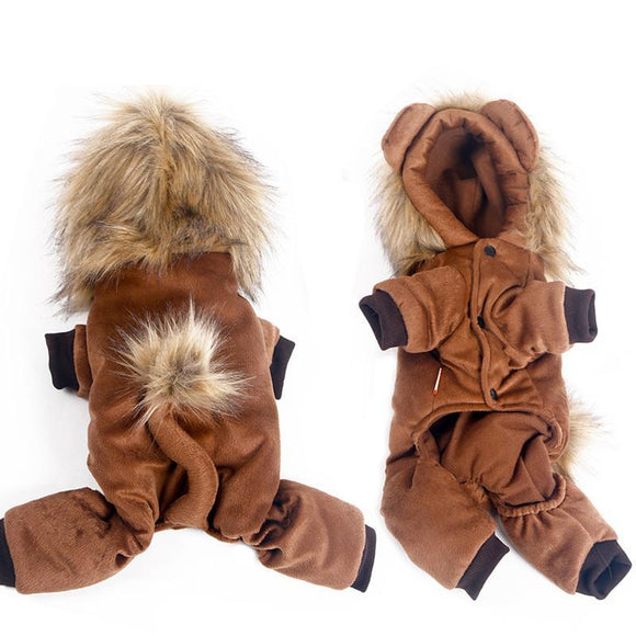 PETPETROL 2018 Pet Clothes Cute Little Lion Costume Jumpsuits Rompers Four Feet Warm Soft Pet Clothing