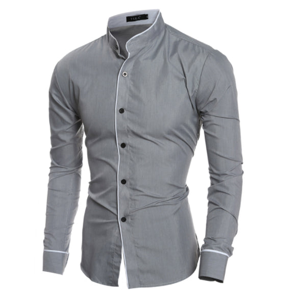 Men'S Slim Business Casual Long Sleeve Chemise Homme