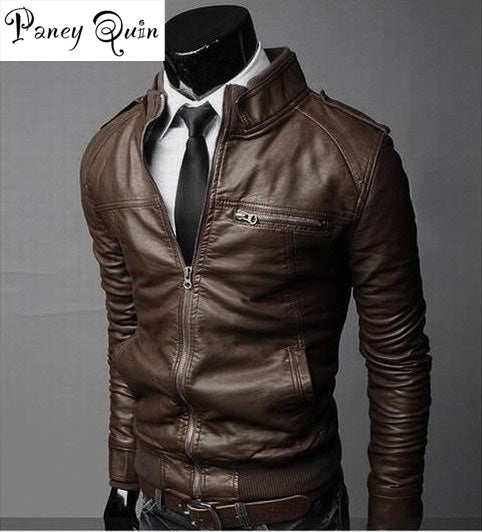 winter male Men PU Motorcycle Leather jackets coats  Men leather coat motorcycle jacket collar British version brand clothing