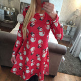 Women Xmas Dress Mother Daughter Girls Christmas Snowman Santa Festival  Long Sleeve Swing Party Mini Dresses For New Year