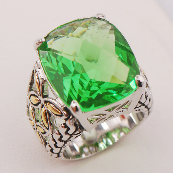 19 - Peridot 925 Sterling Silver Ring
