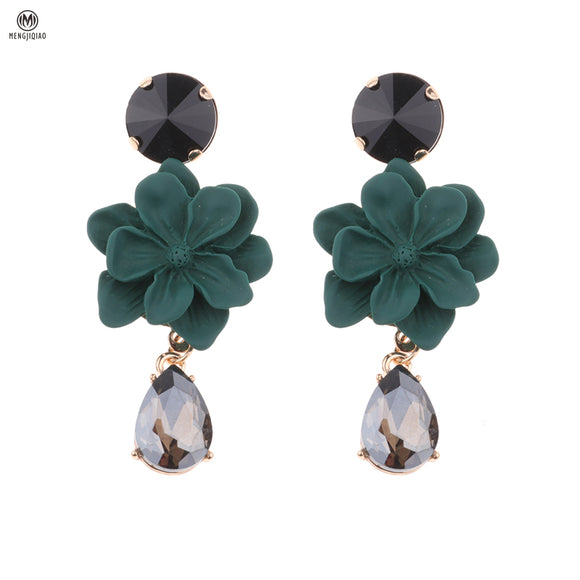 ATHENA 2018 Statement Fashion Jewelry Charm Flower Earrings Temperament Rhinestone Pendientes For Women Brinco Boucle D'oreille Femme 2017
