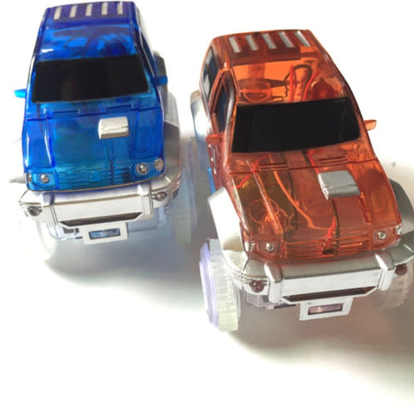 Dropshipping LED light up Car Flashing Lights Educational Toys For Children Boys Birthday Gift DIY Magic Track  Toy cars