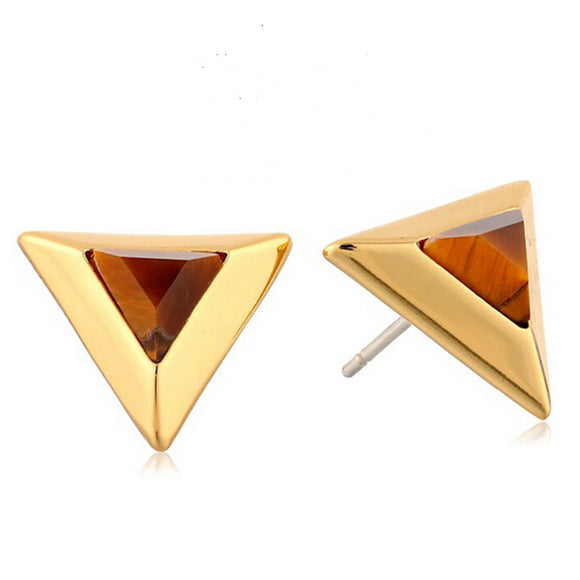 ATHENA 2018 New Fashion Punk Designer Triangle Stone Gold Color Plate Luxury Gem Stud Earrings For Women Girls Jewelry
