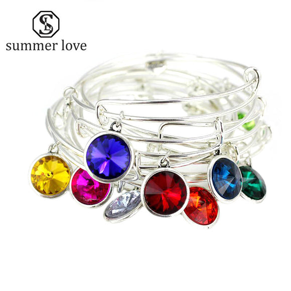 Fashion Silver Birthstone Charm Bracelet Jewelry 12 Colors Crystal Adjustable Expandable Wire Bracelets & Bangles for Women