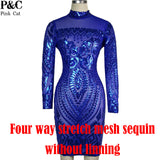 2017 Womens Sexy Dresses Party Night Club Dress Plus Size Royal Blue Party Dress Geometric Pattern Sequin Bodycon Summer Dress