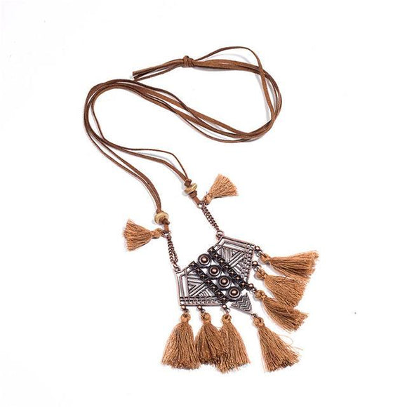 Ethnic Leather Long Tassel Pendant Necklaces