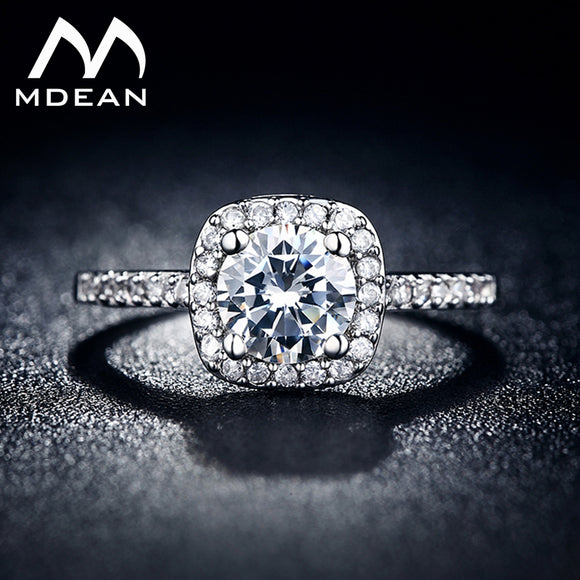 MDEAN White Gold Color Wedding Ring for Women AAA Zircon Jewelry Bague Bijoux Femme Engagement Accessories MSR035