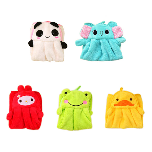 2017 New Ctue Eco-friendly Candy Colors Soft Coral Velvet Cartoon Animal Handkerchief Towel Can Be Hung Kitchen Bathroom Useused