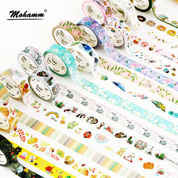 Egnara 15mm X 7m Cute Lotkawaii Flower food animals  Decorative Washi Tape DIY Scrapbooking Masking Tape School Office Supply