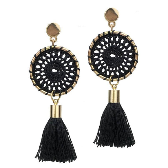 Bohemia Handmade Drop Dangle Tassel Earrings Ethnic Jewelry Women Gold Color Alloy Cotton Tassels Dangling Earrings Long