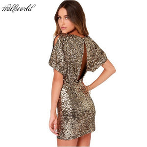 Short Sequin Dress Bodycon Mini Sexy Ladies Dress Backless Night Club Dresses Gold Clothing Women Paillette Sequins  Dress