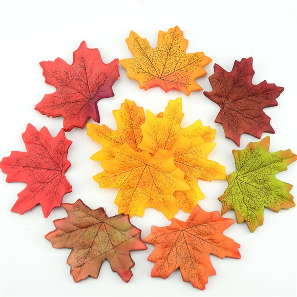 100Pcs Artificial Silk Maple Leaves For Home Wedding Party Decoration Scrapbooking Craft Multicolor Fall Vivid Fake Flower Leaf