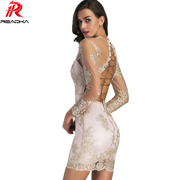 Winter Sexy Mini Sequin Dress Women Deep V Neck Elegant Backless Lace Up Luxury  Party Dresses 5f950f6d120f